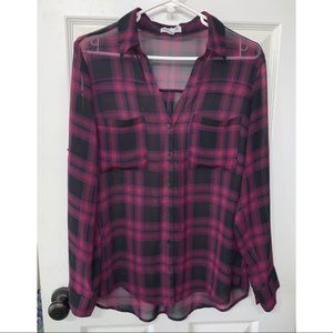 Express Sheer Plaid Portofino Shirt